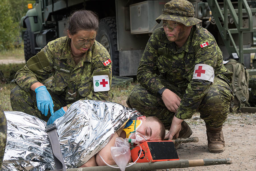 Canadian Army Reserve medics conduct casualty response training in August 2017 as part of Exercise STRIDENT TRACER 17 at 5th Canadian Division Support Base Gagetown in New Brunswick.
