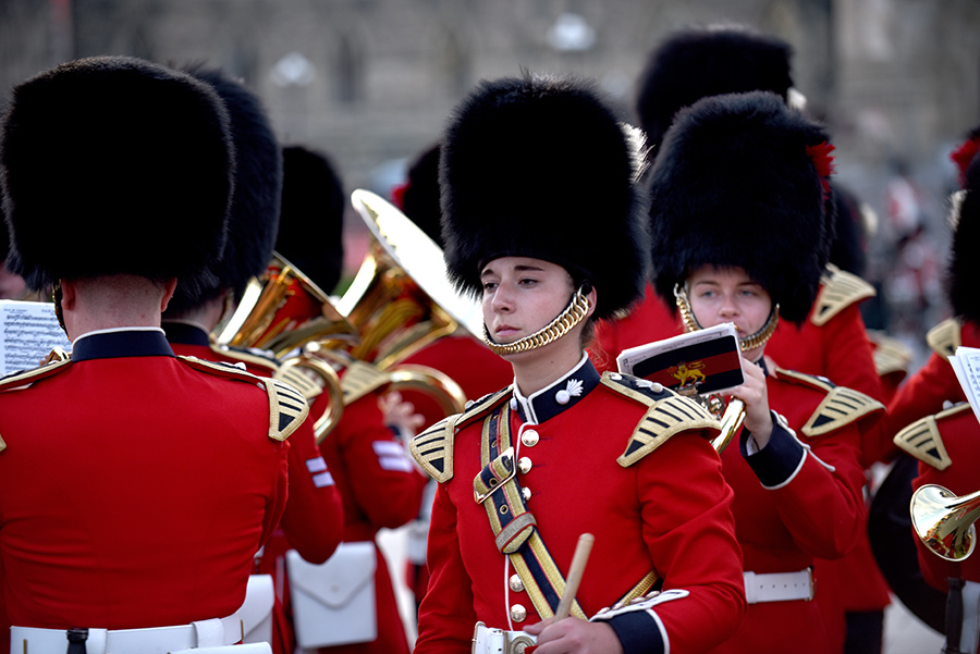 Members of the Band of the Ceremonial Guard perform at Fortissimo in July 2017. Fortissimo is a military and musical spectacular created for the lawns of Parliament Hill that has drawn thousands of spectators since it began in 1997. Photo: ©2017 DND/MDN Canada.